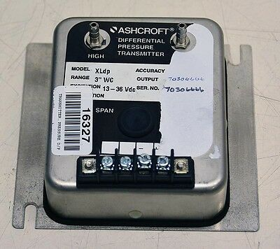//-0.25IN-WC 13-36V-DC ASHCROFT XLDP Differential Pressure Transmitter 4-20MA