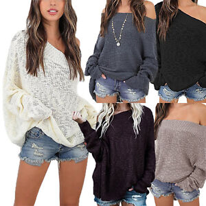 UK-Women-Off-Shoulder-Knitted-Jumper-Top-Oversize-Baggy-Sweater-Blouse-Size-8-22