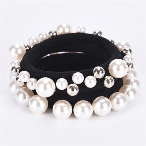 Mode Strass Kristall Perle Haarband Seil Elastische Pferdeschwanz Inhaber FrRSDE