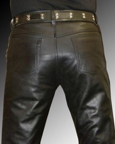 LEDERHOSE schwarz Designer Leder Hose Lederjeans neu leather trousers pants