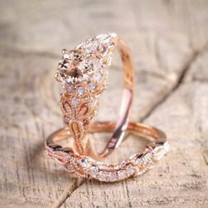 2PCS-Ring-Fine-18K-Rose-Gold-Plated-White-Topaz-Wedding-Engagement-Size-5-10