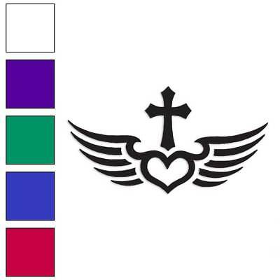 Size #324 Flying Heart Wings Decal Sticker Choose Pattern