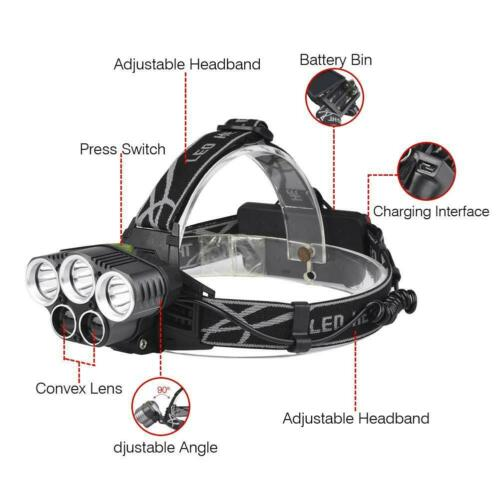 600000LM 5xLED Zoom LED Rechargeable  Headlamp Head Light Torch BR