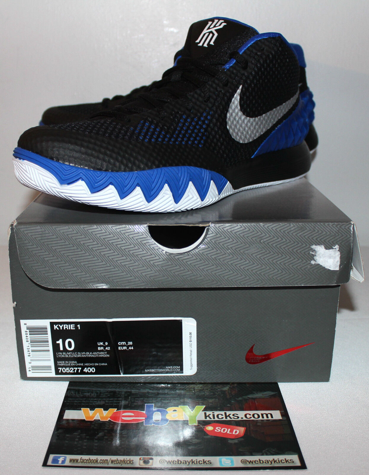Nike Air Kyrie 1 I Brotherhood Black Royal White Sneakers Men's Size 10 New