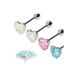 4-lot-HEART-Paved-Gem-Clear-Dome-TONGUE-Rings-Barbell-Body-Piercing-Jewelry