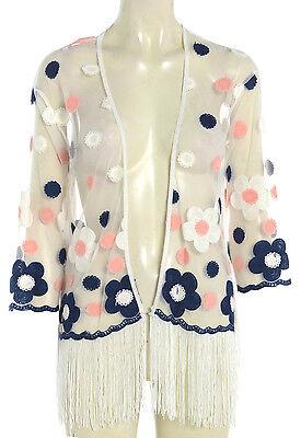 NEW Womens Kimono DAISY Floral Fringed kimonos Size 10 12 14 16 Chiffon