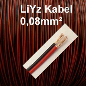 Courageux Liyz Câble 0,08 Mmâ² Rouge Noir Jumelle Toron 2 Conducteurs Longueur 1 M 10 M 20 M Au Choix-afficher Le Titre D'origine