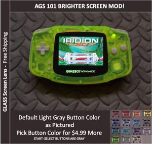 Nintendo Game Boy Advance  System AGS101 Backlit Mod-Glass Screen - NEON GREEN