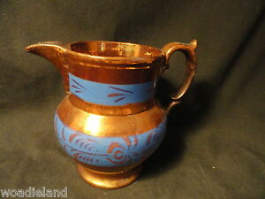 Copper-Luster-Pitcher-Creamer-Blue-4-75-inch-Floral-Decoration