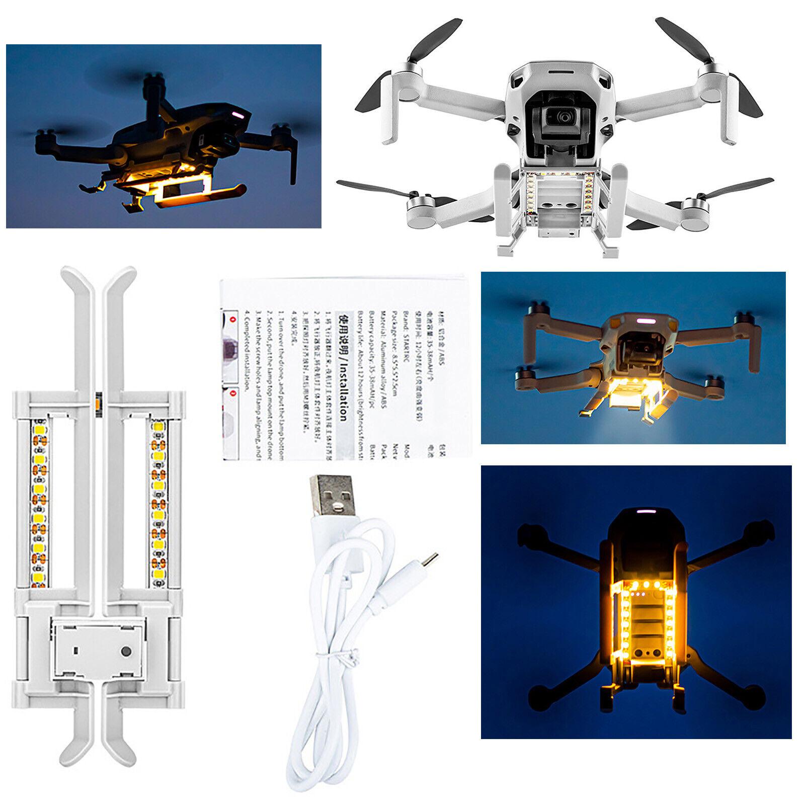 For DJI Mavic Mini/Mini2 Drone Extension Landing Gear Stand w/LED Light Lamp Kit