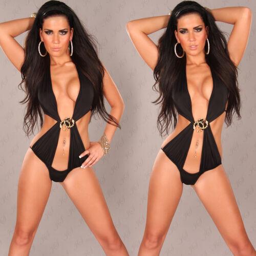 Glitzer Strass Neckholder Monokini Bikini Swimsuit Badeanzug* S M L-36 38 40