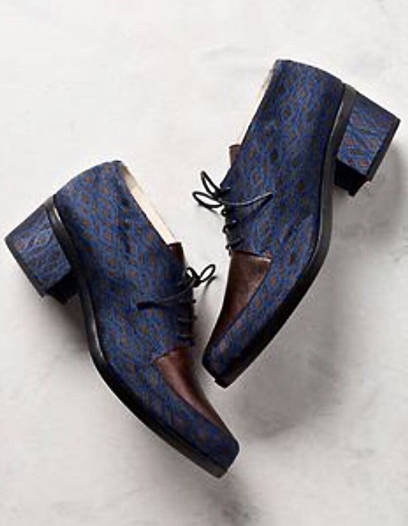 NIB Anthropologie Lenora Blue Bronze Fabric Leather Lace Up Oxford Shoes 39