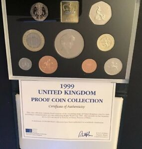 Royal Mint 1999 UK Proof Blue Deluxe 9 Coin Set & COA, £5 Princess Di, Rugby WC