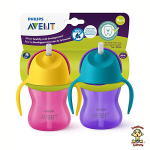 Avent-My-Bendy-Straw-Cup-7-oz-Pink-2-Pack-Authentic-and-Brand-New-BPA-Free