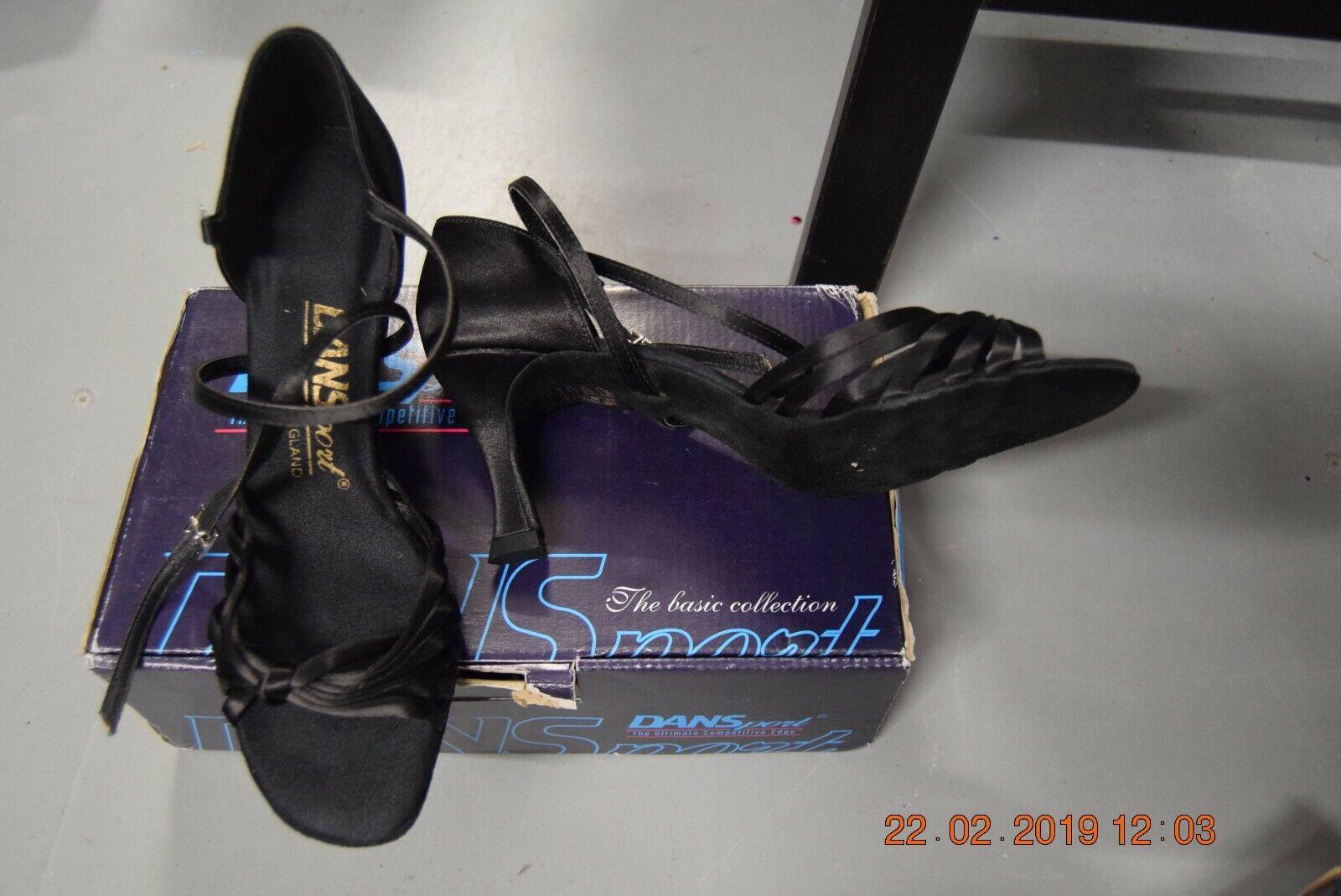 Black satin Dansport L3006 sandal ballroom latin dance shoes - size UK 6