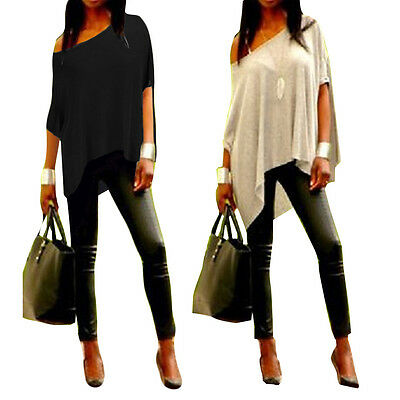 Sexy Womens Summer Loose Casual Off  Shoulder Cotton Tee Shirt  Blouse Tops