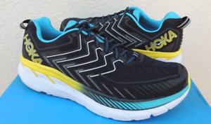 Hoka-One-One-Clifton-4-Black-Cyan-Citrus-Running-Shoe-Men-039-s-sizes-7-15-NEW