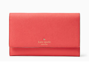 Kate Spade New York Mikas Pond Phoenix Wallet Long Leather Almondine Blue Red