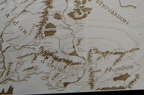 Laser Engraved Lord of the Rings map Wooden Middle Earth Map