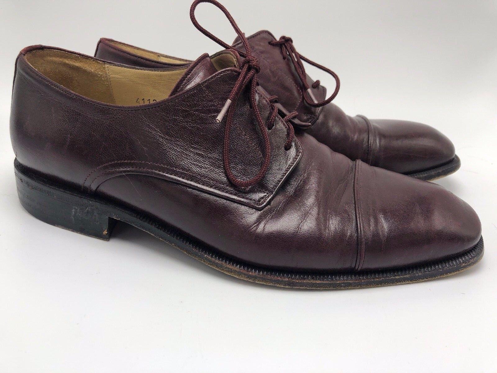 PRINCIPE ITALY Burgundy Soft Italian Leather Cap Toe Oxfords 9 D - Oxblood Mens
