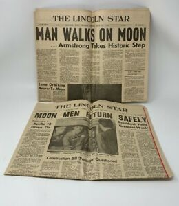 Man-Walks-On-The-Moon-Newspaper-Lot-Of-2-Lincoln-Nebraska-1969-Complete-19-416D