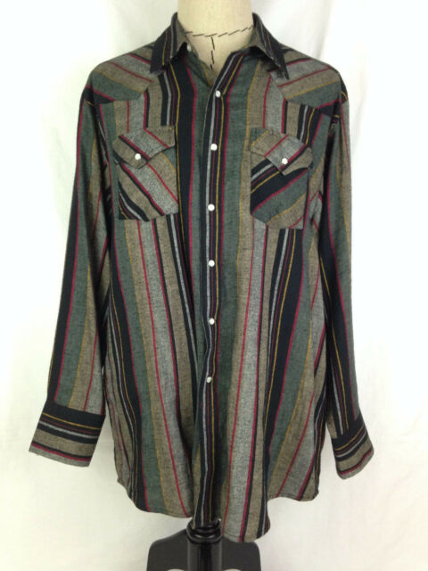 PLAINS WESTERN WEAR Mens Shirt XL Size Black Gray Red Cowboy Rodeo Pearl Snaps