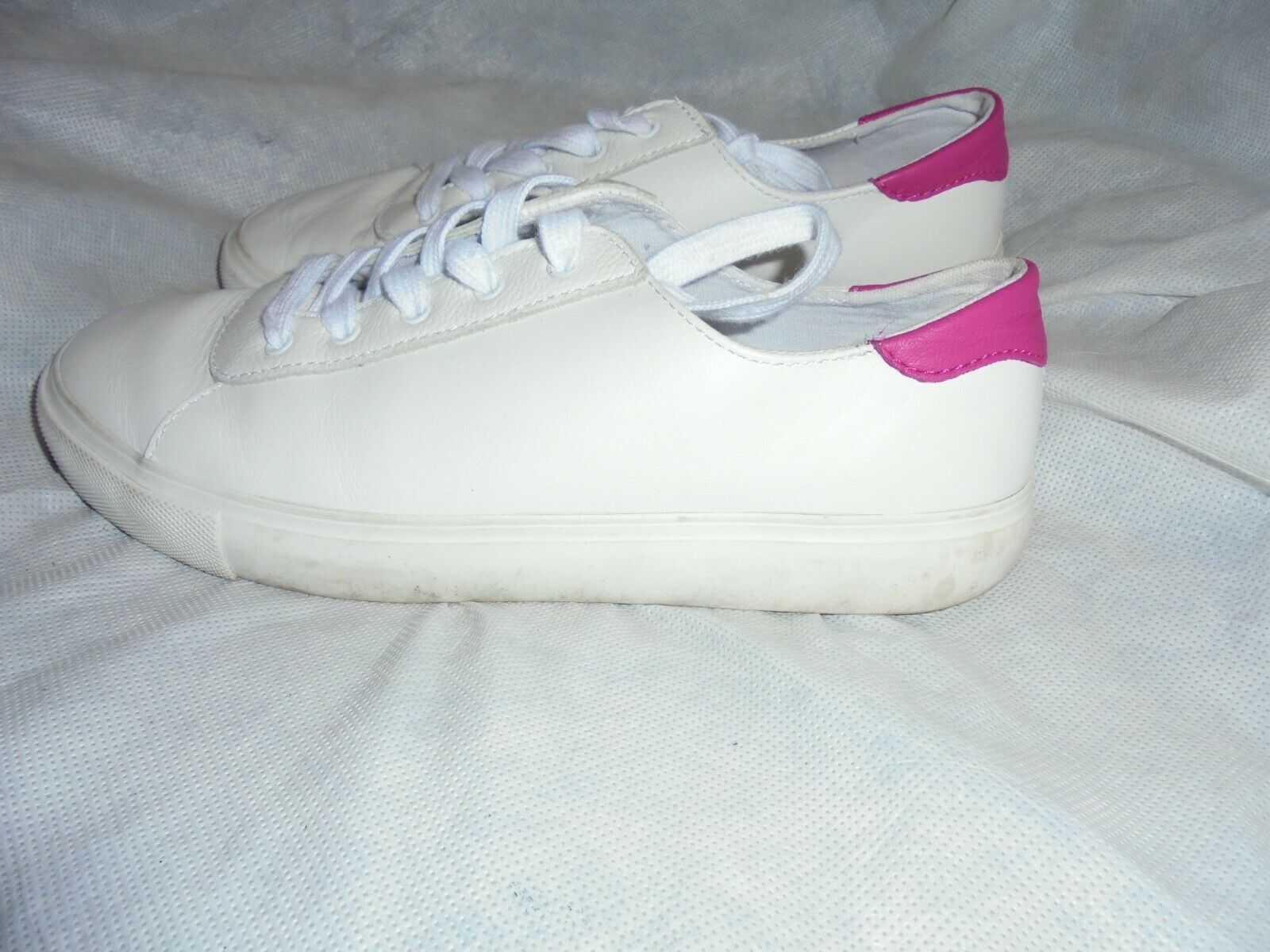GAP WOMEN WHITE LEATHER LACE UP TRAINERS SIZE UK 5.5 EU 38.5 VGC