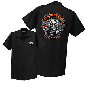 Route 66 Mechanic Shirt Work Retro Biker Mens Sizes Small to 6XL Free Shipping