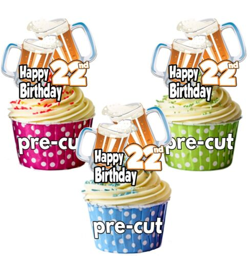 22nd Birthday Beer Pint Glass  Precut Edible Cupcake Toppers Cake Decorations