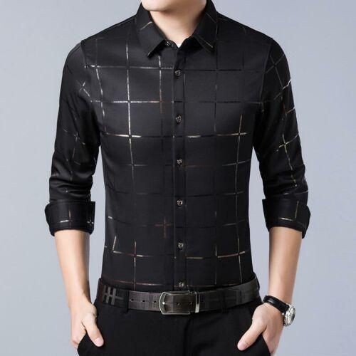 Camisa Para Hombre de Marca Casual de Cuello Boton de Mangas Largas slim fit