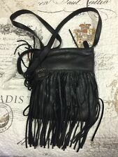 NEW Margot Crossbody Mini Black Bag Genuine Nappa Leather Fringe Bucket Purse