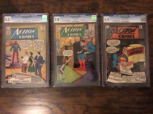 3-Vintage-Action-Comics-CGC-Graded-Lot-283-359-380-Superman-DC-1960-s-Silver