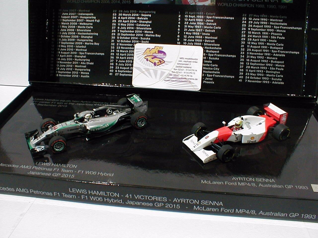 MINICHAMPS 412414408   2-car Set L. Hamilton et A. SENNA 41 Victories 1 43 Nouveau