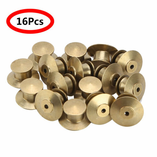 16 Metal Pin Back Locks Keeper Holder Clasp Buttons Uniform Badge Tie Tack Decor