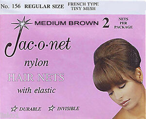 Jac-O-Net  #156  French Style  Invisible Hair Net  w/Elastic (2) pcs. Med. Brown