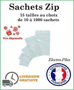 Sachet ZIP plastique transparent, lot sacs pochettes pochons pression, 50µ