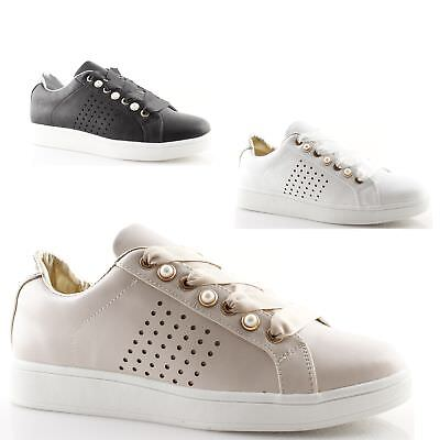 Women Sneakers Low White Black Beige with Pearls Studs Shoes Gold & Gold | eBay