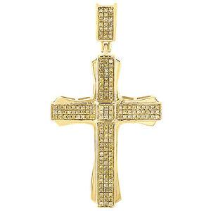 10K-Gold-Canary-Yellow-Diamond-Cross-Pendant-Mens-Pave-Set-Design-Charm-0-40-Ct