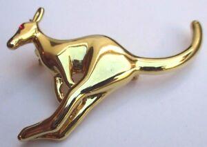 Rare broche bijou couleur or en forme de kangourou œil en cristal rubis 2393 Dnd1Ty9L-07192846-625708863
