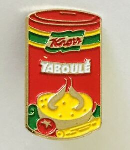 Knorr-Taboule-Tabouli-Can-Brand-Advertising-Pin-Badge-Rare-Vintage-C18