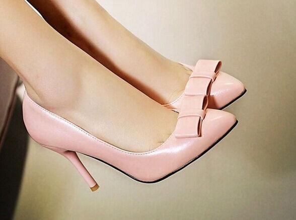 Décollte Zapatos talón de salón elegantes mujer talón Zapatos perno 9 cm tacón aguja rosa 9183 1809c9