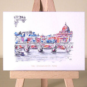 Rome-ACEO-art-card-Italian-cityscape-drawing-dancing-light-on-St-Peter-039-s