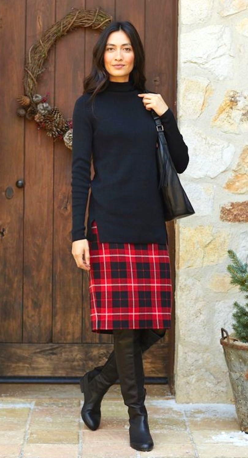 J. Jill - L(14 16) - Perfect Red Multu Plaid Knit Pencil Skirt - NWT Gorgeous