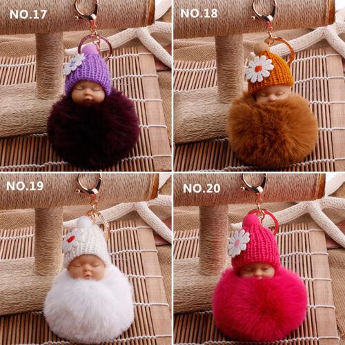 US Cute Sleeping Baby Key chains Doll Rabbit Fur Fluffy PomPom Bag Decor Keyring