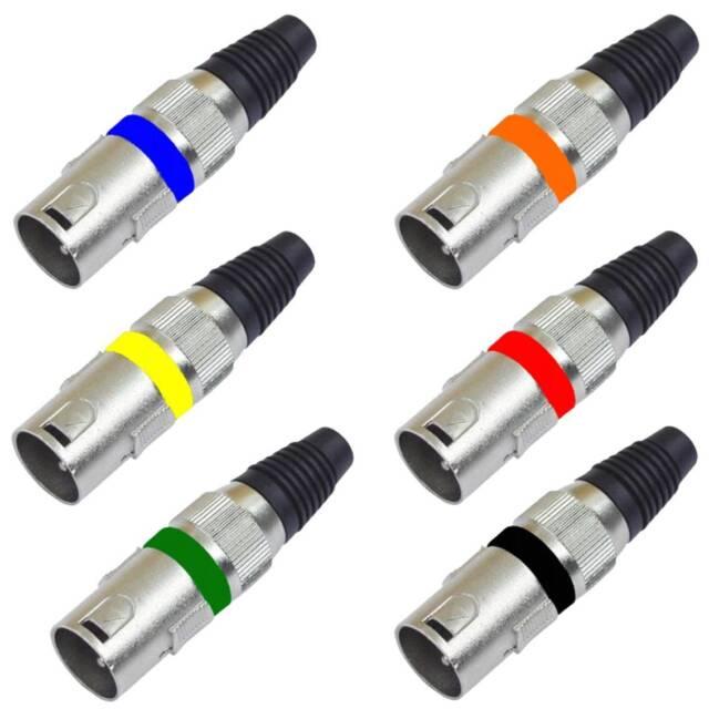 36 Stück XLR STECKER 3-pol in 6 verschiedenen Farben - Farbe frei wählbar