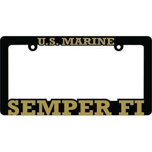 US Marine Corps Semper Fi License Plate Frame Black