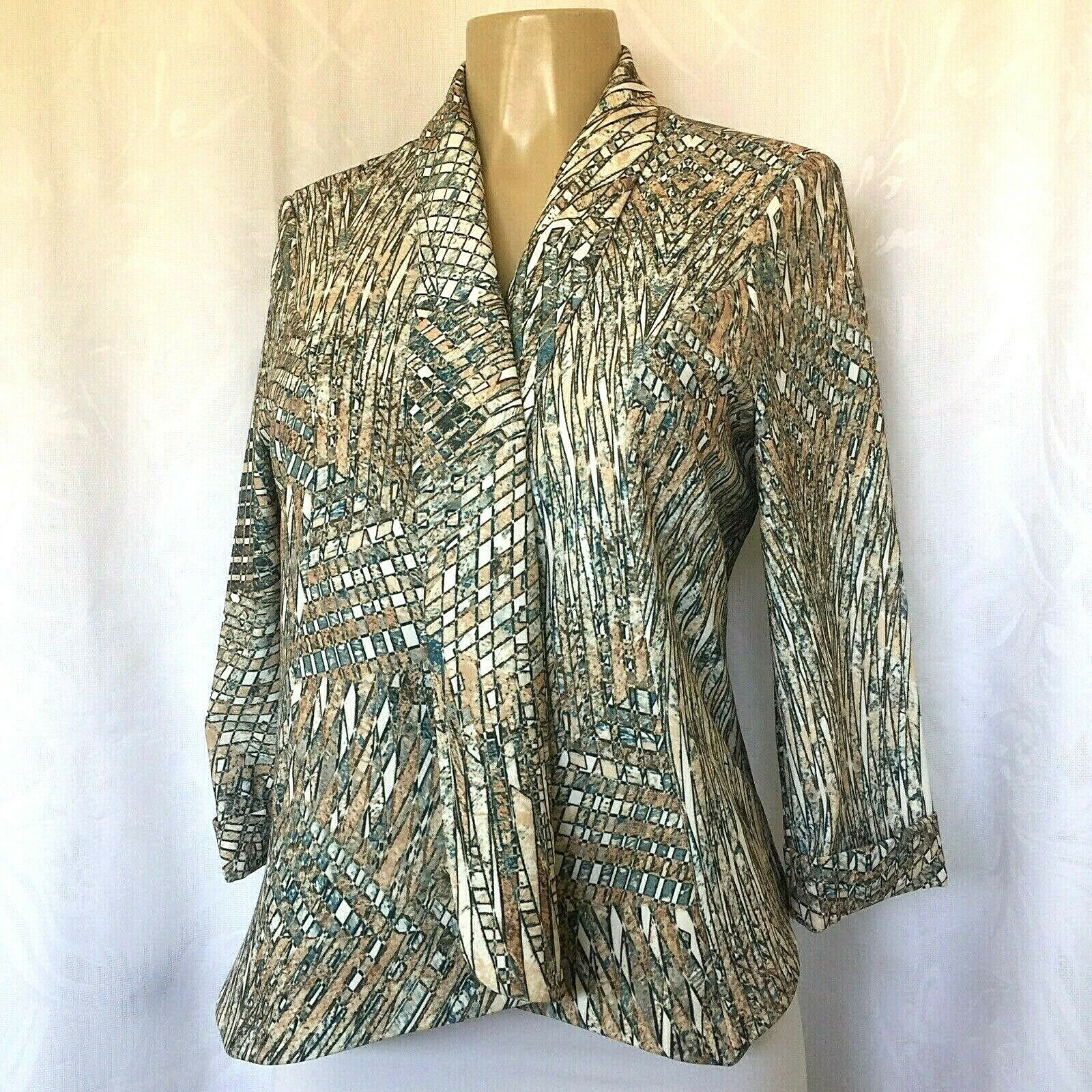 Alberto Makali Top Jacket Blazer Open Front Abstract Print Lined M 3 4 Sleeve