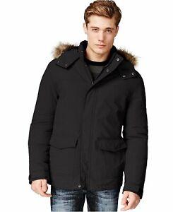 retail prices best sell half price American Rag Mens Faux Fur Trim Hooded Parka Black M | eBay