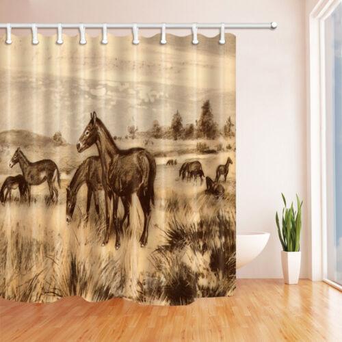 Hand painted donkey Bathroom Decor Shower Curtain Waterproof Fabric w//12 Hook