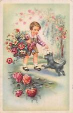 "Alte Künstlerkarte Ansichtskarte Hund begrüßt Kind  1930 besch.""2235"""